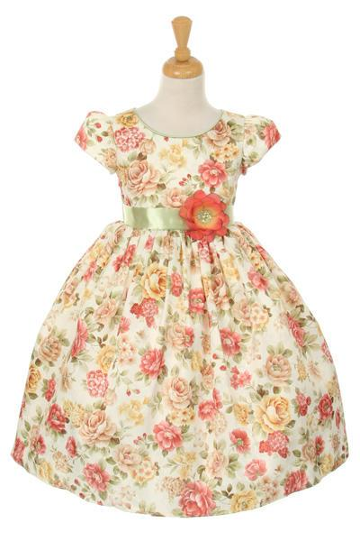 Girls Tea Length Floral Print Dress by Cinderella Couture ME731-Girls Formal Dresses-ABC Fashion