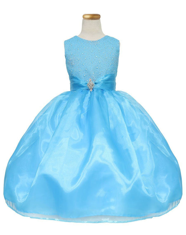 Girls Tea Length Organza Dress with Glitter Bodice-Girls Formal Dresses-ABC Fashion