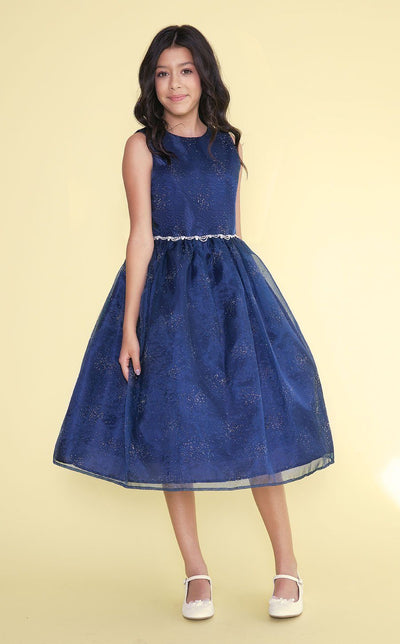 Girls Tea Length Organza Glitter Dress with A-line Skirt-Girls Formal Dresses-ABC Fashion