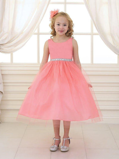 Girls Tea Length Tulle Dress with Beaded Waistline-Girls Formal Dresses-ABC Fashion