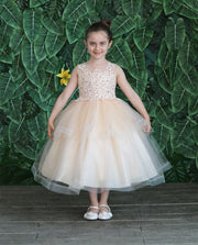Girls Tea Length Tulle Dress with Embroidered Bodice by Calla D792-Girls Formal Dresses-ABC Fashion