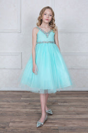 Girls Tea Length Tulle Dress with Jeweled V-Neckline-Girls Formal Dresses-ABC Fashion
