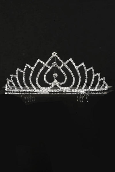 Girls Upside Down Heart Silver Tiara with Comb