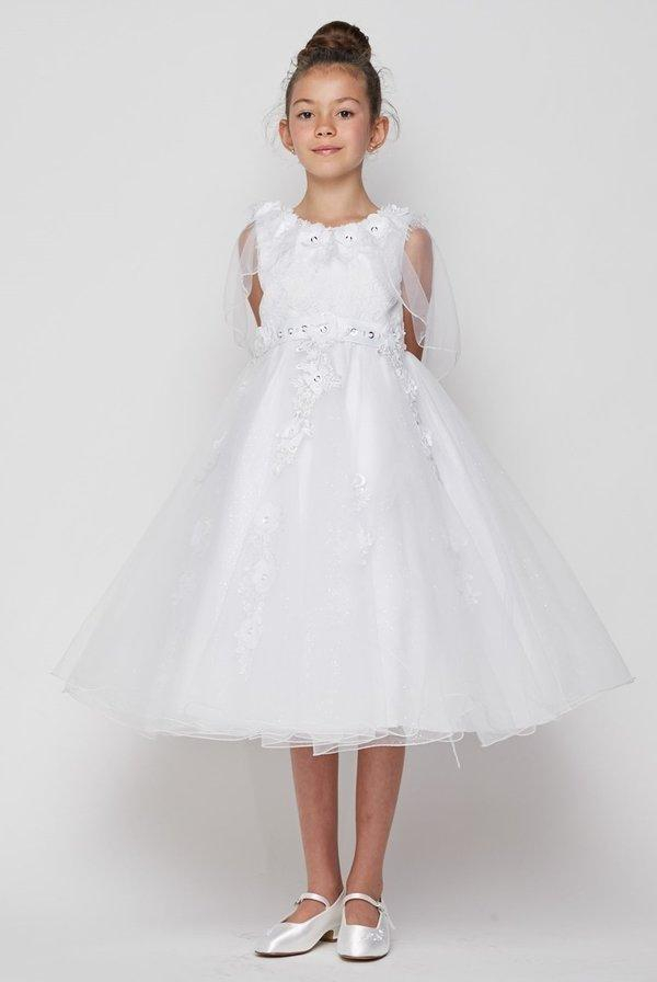 Girls White Cape Dress with 3D Appliques by Cinderella Couture 2906-Girls Formal Dresses-ABC Fashion
