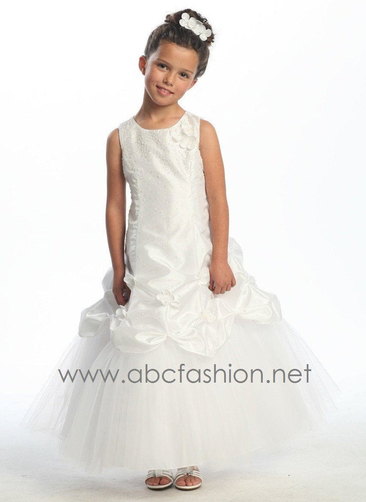 Girls White Communion Dresses-Girls Formal Dresses-ABC Fashion