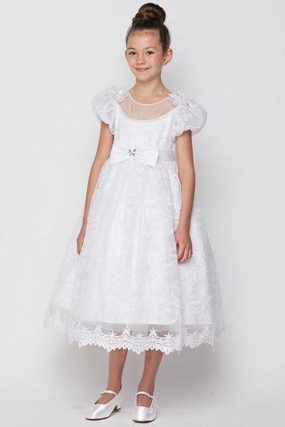 Girls White Lace Dress with Puff Sleeves by Cinderella Couture 2904-Girls Formal Dresses-ABC Fashion