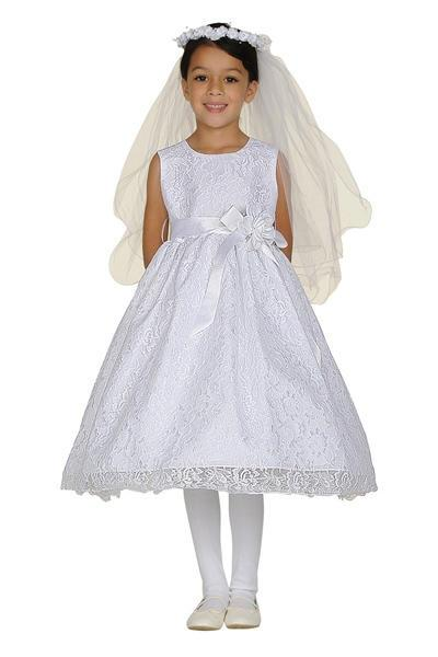 Girls White Raschel Lace Tea Length Dress with Sash-Girls Formal Dresses-ABC Fashion