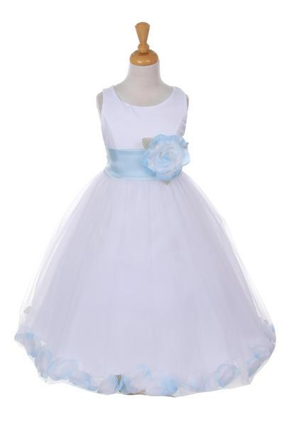Girls White Satin Dress with Baby Blue Flower Petal Skirt-Girls Formal Dresses-ABC Fashion