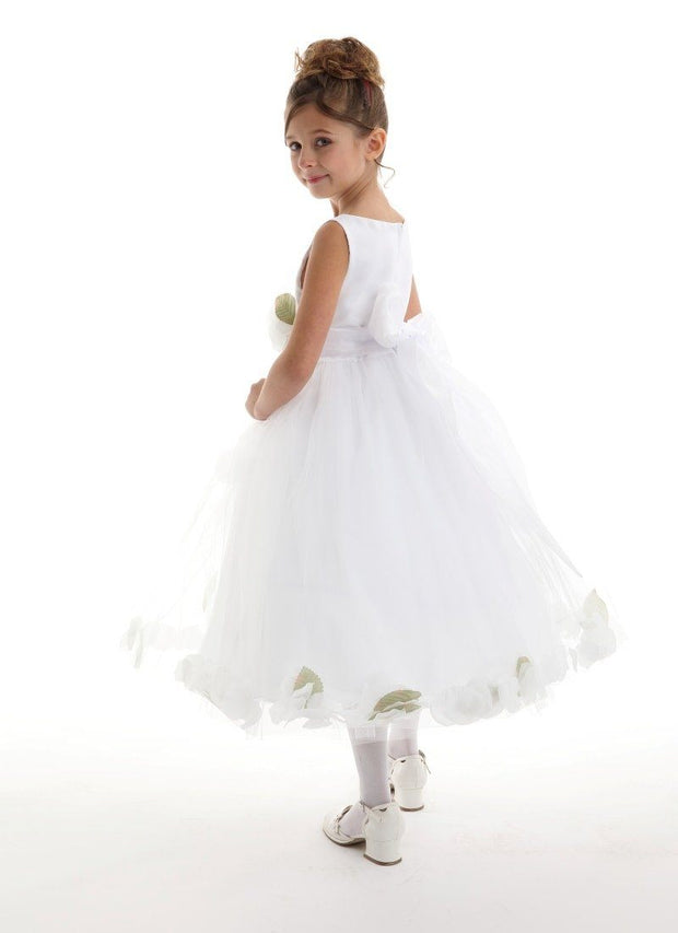 Girls White Satin Dress with Champagne Flower Petal Skirt-Girls Formal Dresses-ABC Fashion