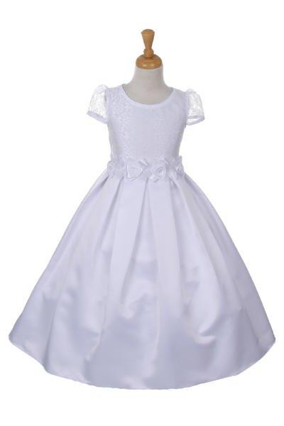 Girls White Satin Dress with Lace Bodice by Cinderella Couture 2003-Girls Formal Dresses-ABC Fashion