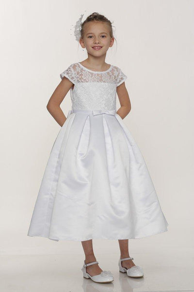 Girls White Satin Dress with Lace Bodice by Cinderella Couture 2008-Girls Formal Dresses-ABC Fashion
