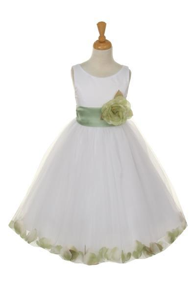 Girls White Satin Dress with Sage Flower Petal Skirt-Girls Formal Dresses-ABC Fashion