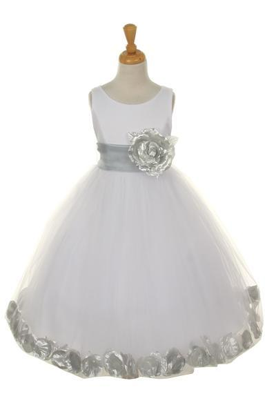 Girls White Satin Dress with Silver Flower Petal Skirt-Girls Formal Dresses-ABC Fashion
