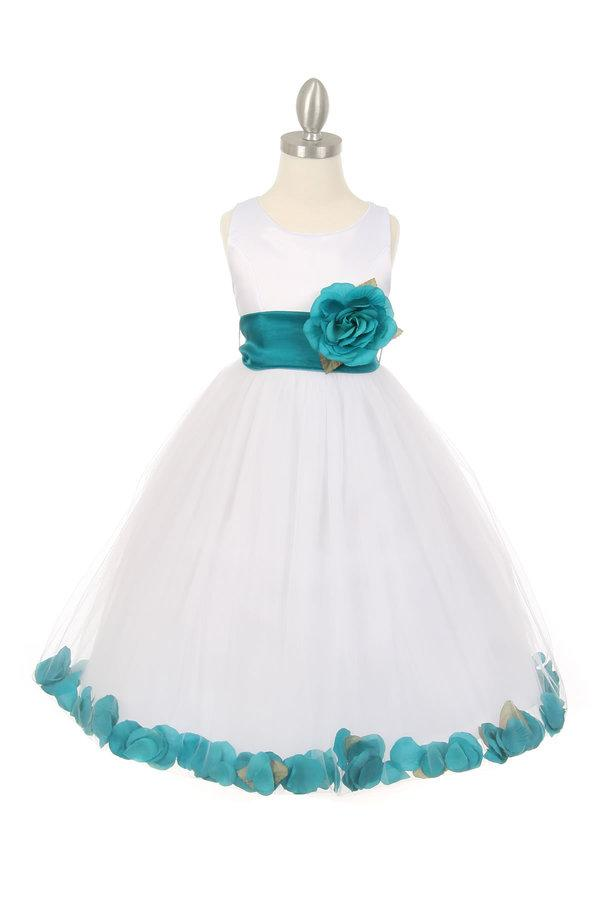 Girls White Satin Dress with Teal Flower Petal Skirt-Girls Formal Dresses-ABC Fashion