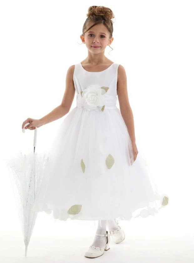 Girls White Satin Dress with Turquoise Flower Petal Skirt-Girls Formal Dresses-ABC Fashion