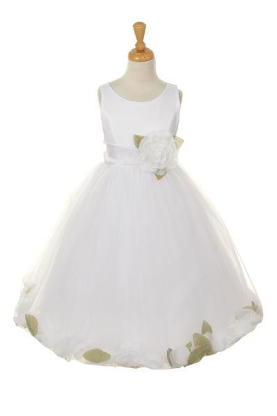 Girls White Satin Dress with White Flower Petal Skirt-Girls Formal Dresses-ABC Fashion