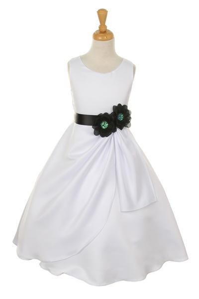 Girls White Tea Length Dress with Black Floral Sash-Girls Formal Dresses-ABC Fashion
