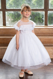 Girls White Tea Length Dress with Floral Applique Cape by Calla D788-Girls Formal Dresses-ABC Fashion