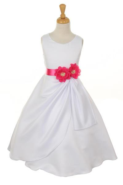 Girls White Tea Length Dress with Fuchsia Floral Sash-Girls Formal Dresses-ABC Fashion