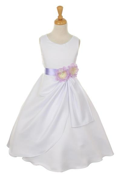 Girls White Tea Length Dress with Lilac Floral Sash-Girls Formal Dresses-ABC Fashion
