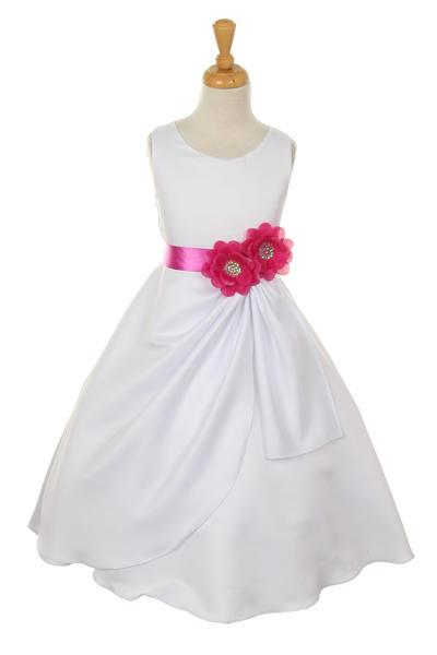 Girls White Tea Length Dress with Magenta Floral Sash-Girls Formal Dresses-ABC Fashion