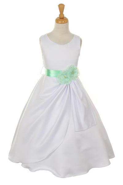 Girls White Tea Length Dress with Mint Floral Sash-Girls Formal Dresses-ABC Fashion
