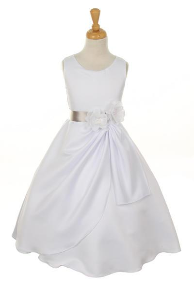Girls White Tea Length Dress with Silver Floral Sash-Girls Formal Dresses-ABC Fashion