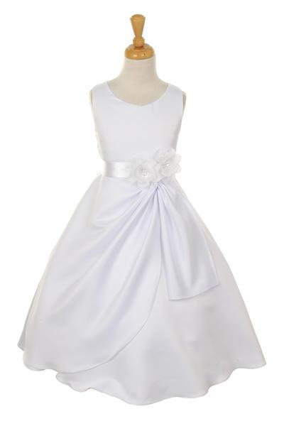 Girls White Tea Length Dress with White Floral Sash-Girls Formal Dresses-ABC Fashion