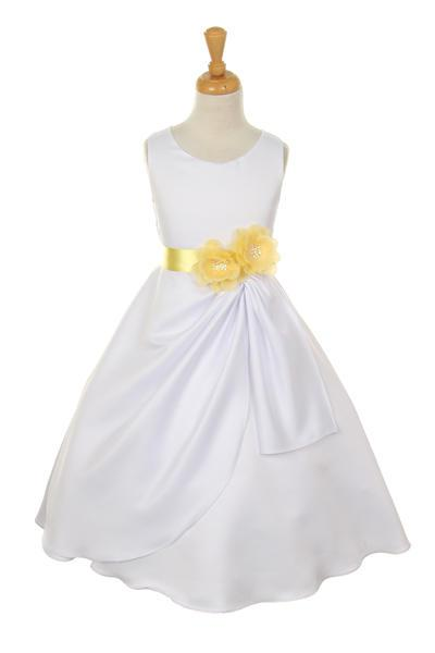 Girls White Tea Length Dress with Yellow Floral Sash-Girls Formal Dresses-ABC Fashion