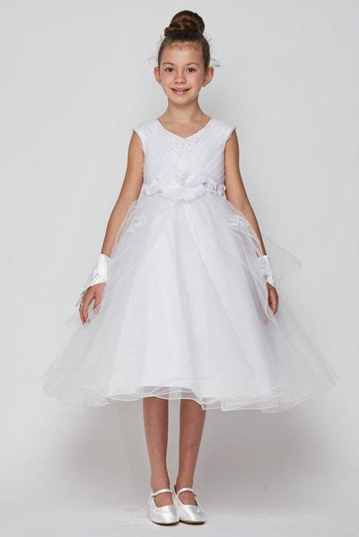 Girls White Tulle Dress with 3D Appliques by Cinderella Couture 2907-Girls Formal Dresses-ABC Fashion