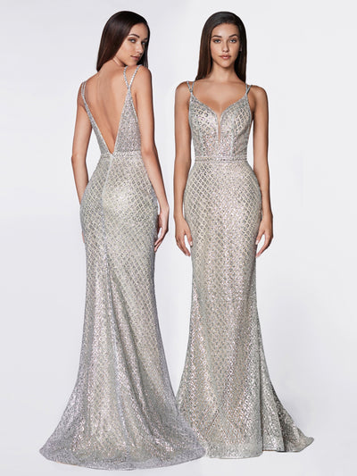 Gliiter Pattern V-Neck Mermaid Gown by Cinderella Divine U102-Long Formal Dresses-ABC Fashion