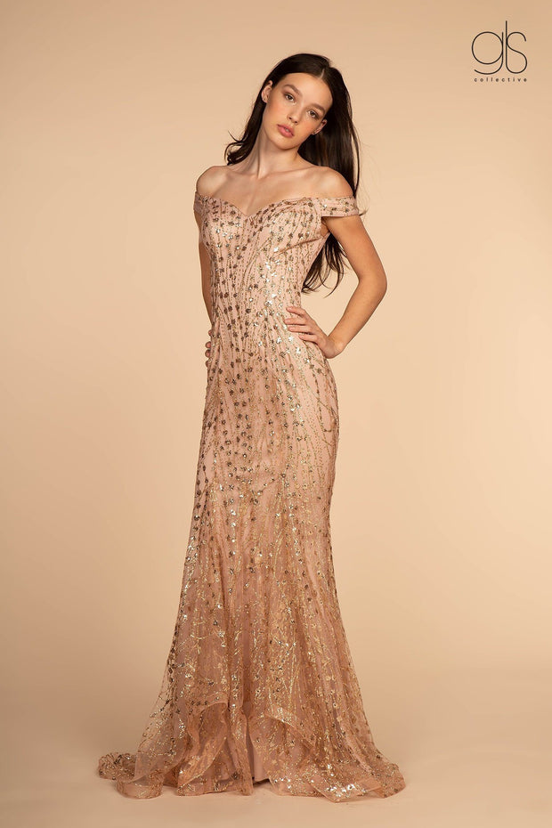 Glitter and Sequin Long Off Shoulder Dress by Elizabeth K GL2585-Long Formal Dresses-ABC Fashion
