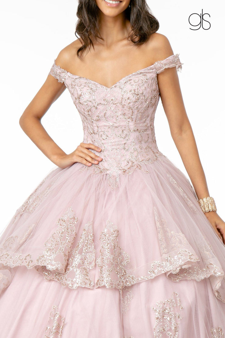 Glitter Applique Off Shoulder Ball Gown by Elizabeth K GL1819