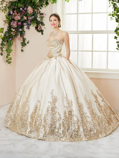 Glitter Applique Strapless Quinceanera Dress by House of Wu 26966