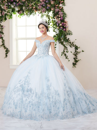 Glitter Applique Sweetheart Quinceanera Dress by House of Wu 26955
