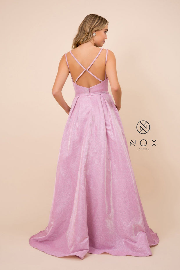 Glitter Ballgown with Crisscross Back by Nox Anabel E228