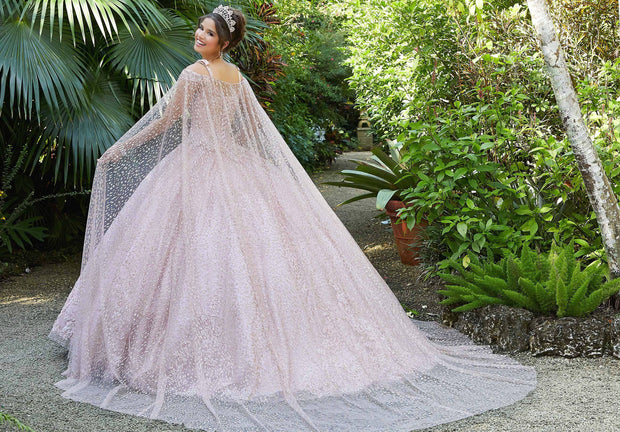 Glitter Cape Quinceanera Dress by Mori Lee Vizcaya 89298