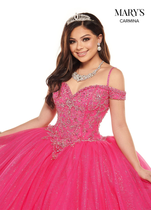 Glitter Cold Shoulder Quinceanera Dress by Mary's Bridal MQ1072