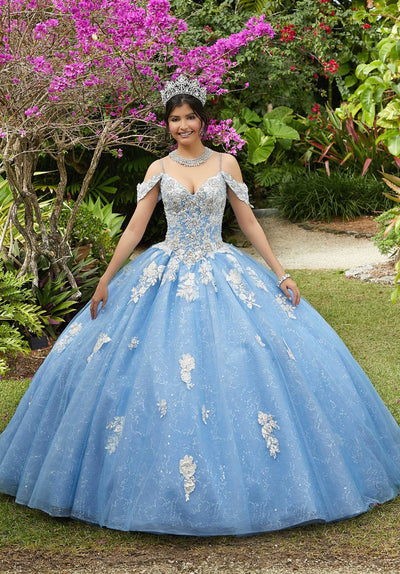 Glitter Cold Shoulder Quinceanera Dress by Mori Lee Vizcaya 89281