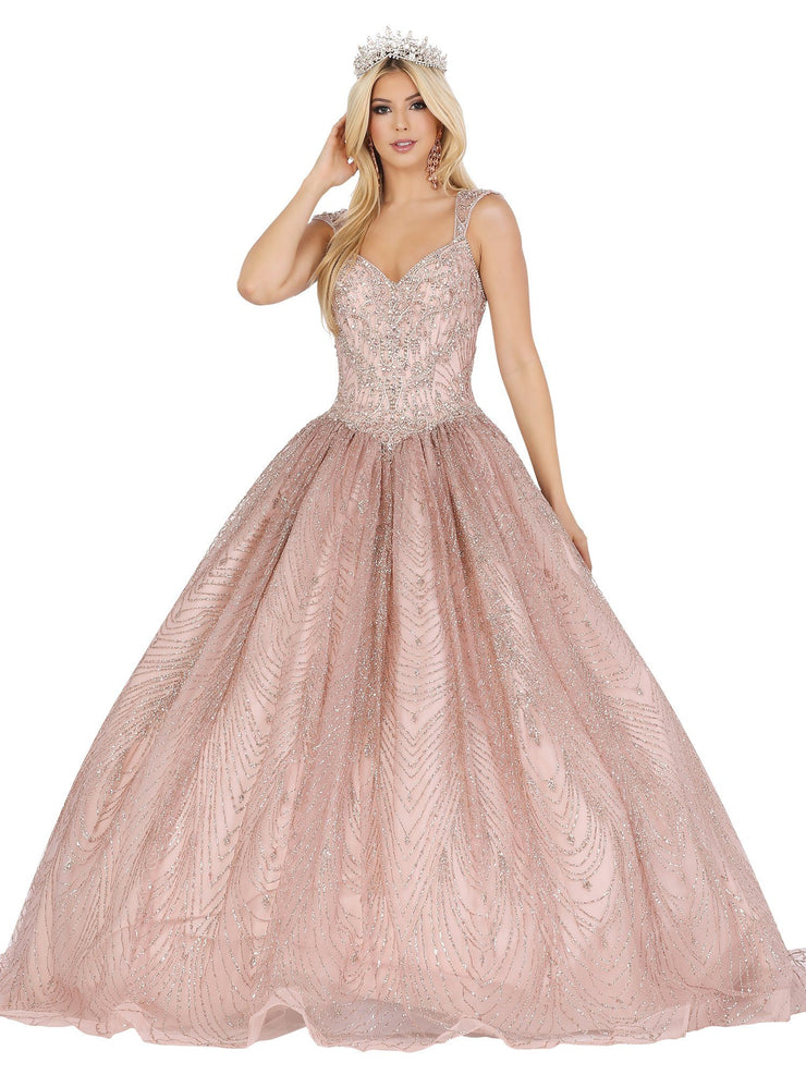 Glitter Embellished Cap Sleeve Ball Gown by Dancing Queen 1496