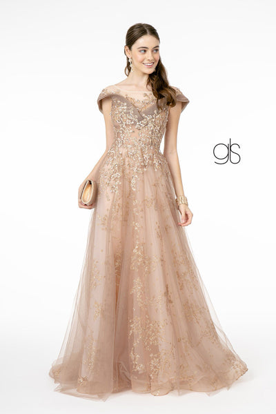 Glitter Embellished Long Illusion Dress by Elizabeth K GL1806