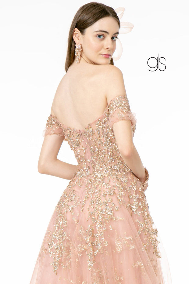 Glitter Embellished Long Off Shoulder Dress by Elizabeth K GL1805