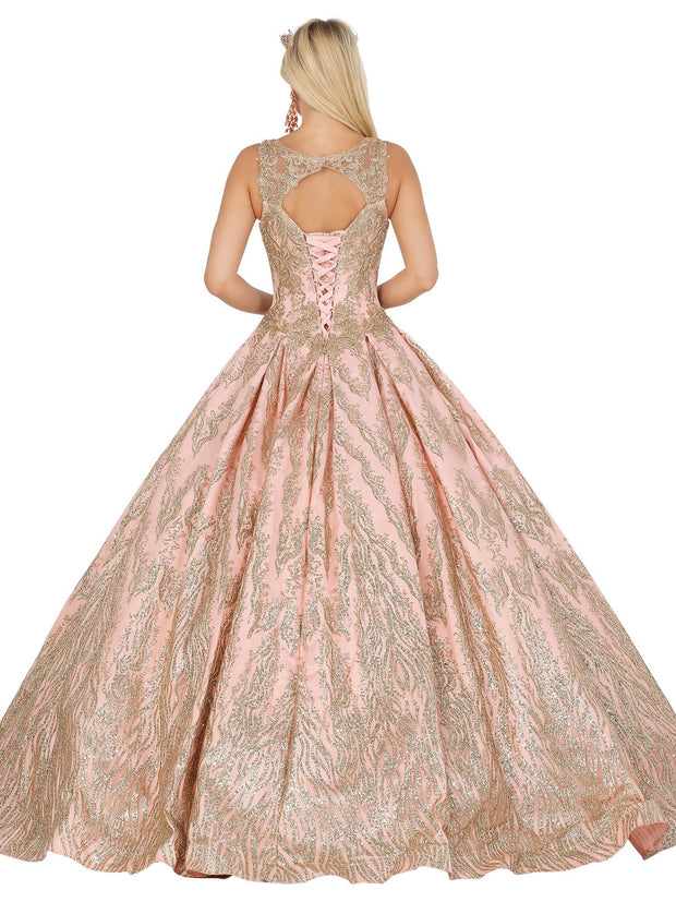 Glitter Embellished V-Neck Ball Gown by Dancing Queen 1508