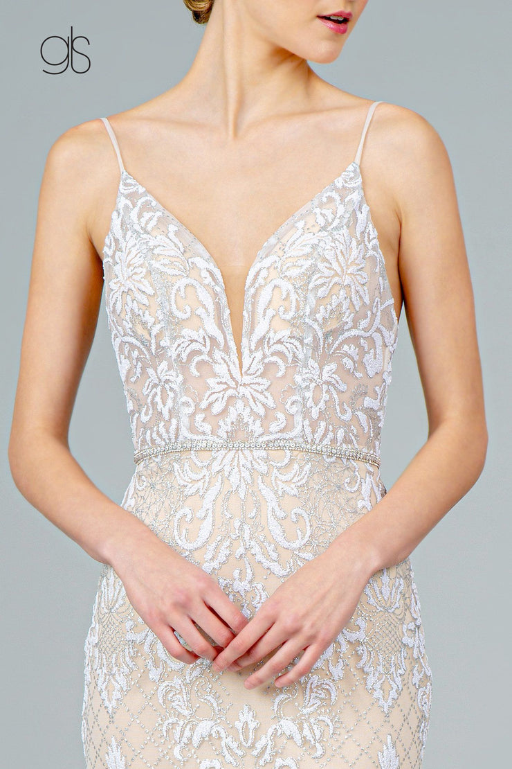 Glitter Embroidered Long Fitted V-Neck Dress by Elizabeth K GL2990