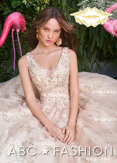 Glitter Floral Quinceanera Dress by Ragazza DV26-526