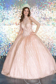 Glitter Illusion High Neck Quinceanera Dress by Calla KY71209