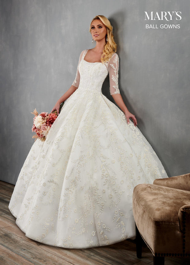 Glitter Lace Wedding Ball Gown by Mary's Bridal MB6076