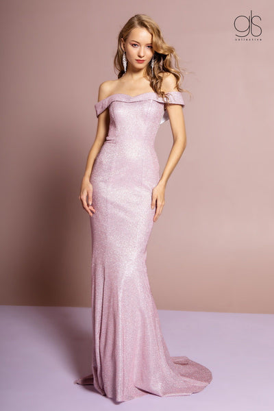 Glitter Long Off the Shoulder Dress by Elizabeth K GL2562-Long Formal Dresses-ABC Fashion