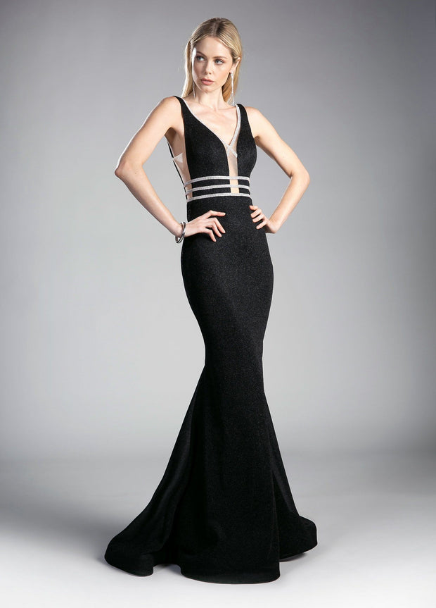 Glitter Mermaid Dress with Open Back by Cinderella Divine KC1875-Long Formal Dresses-ABC Fashion