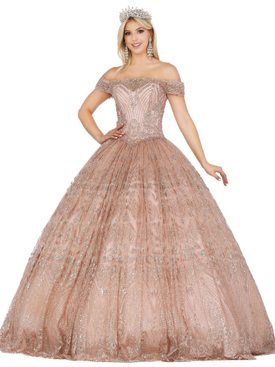 Glitter Off Shoulder Illusion Ball Gown by Dancing Queen 1428